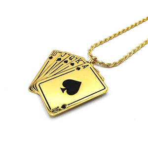 left shot of the Royal Flush Pendant in gold on a white surface