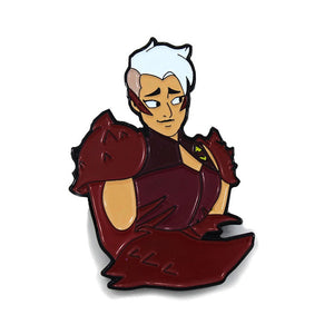 Front view of the scorpia enamel pin