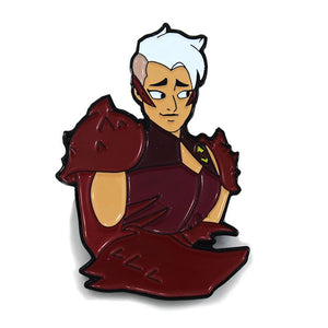 Front and up close view of the scorpia enamel pin angled to the right