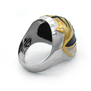 view of the mighty morphin power rangers white ranger ring on a white background showing the inside
