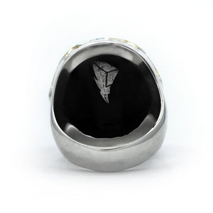 back view of the mighty morphin power rangers white ranger ring on a white background showing logo