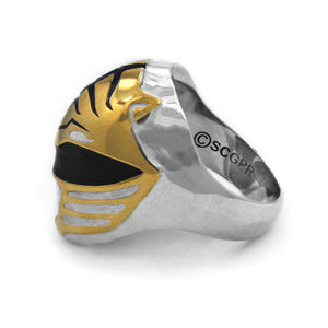 view of the mighty morphin power rangers white ranger ring on a white background showing legal line