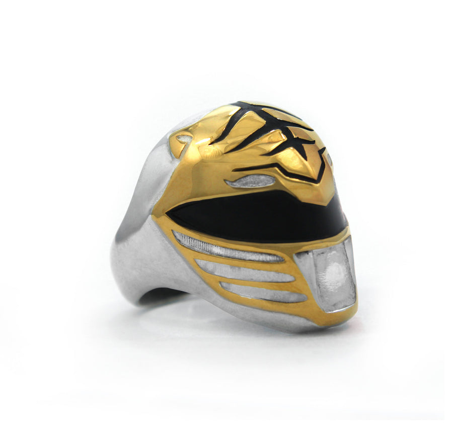 front view of the mighty morphin power rangers white ranger ring on a white background
