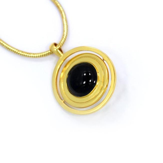 All Seeing Eye Pendant Gold W/ Onyx Stone Ss Necklaces
