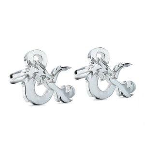 D&D Ampersand Cufflinks,Ampersand logo,dungeons and dragons jewelry,silver cufflinks,DND jewelry,D&D