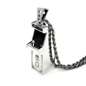 right angle view of the Arcade Machine Pendant in silver on a white background