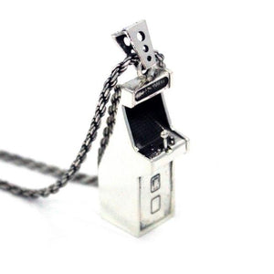 left angle view of the Arcade Machine Pendant in silver on a white background