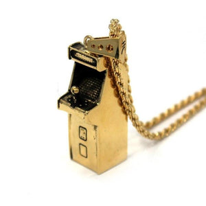 right angle view of the Arcade Machine Pendant in gold on a white background