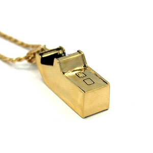 bottom view of the Arcade Machine Pendant in gold on a white background