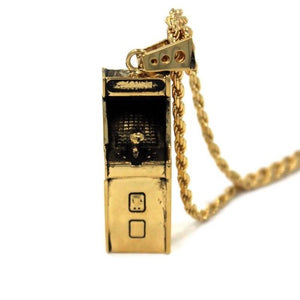 front angle view of the Arcade Machine Pendant in gold on a white background