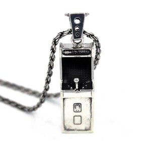 front angle view of the Arcade Machine Pendant in silver on a white background