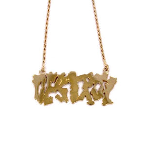 Destroy Pendant, Gold Necklace, skate and destroy, destroy em all, destroy necklace