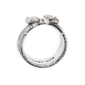 top view of the Bandana Ring in silver from the han cholo precious metal collection