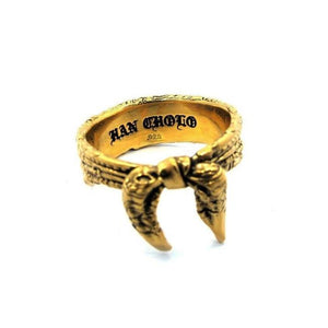 inside detail of the Bandana Ring in gold from the han cholo precious metal collection