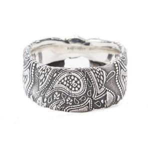 front of the Bandana Ring in silver from the han cholo precious metal collection