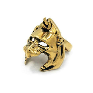 left sideof the Battle Cat helmet Ring from the masters of the universe collection