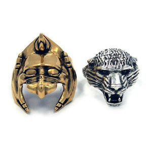 front of the Battle Cat Ring showing the two rings side by side from masters of the universe