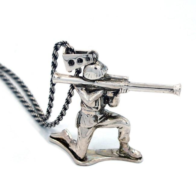 Bazooka Army Man Pendant Pm Necklaces