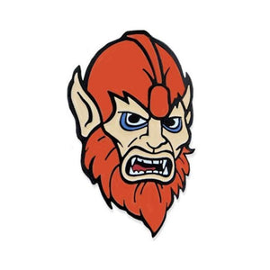 front of the beastman Enamel Pin from the masters of the universe jewelry collection