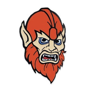 front angle of the beastman Enamel Pin from the masters of the universe jewelry collection