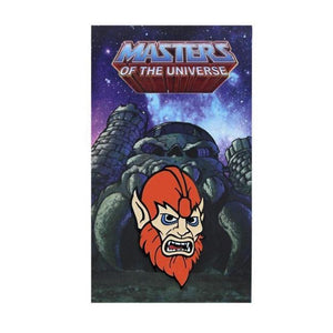 front of the beastman Enamel Pin on a masters of the universe pin card