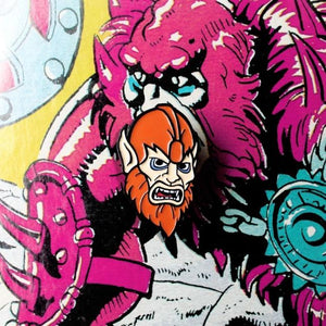 Shot of the beastman Enamel Pin on a beastman illustration  from the masters of the universe