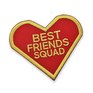 front angled view of the Best Friends Squad Patch showing the red and gold twill detail of the patch