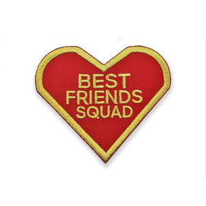 front view of the Best Friends Squad Patch showing the red and gold twill detail of the patch