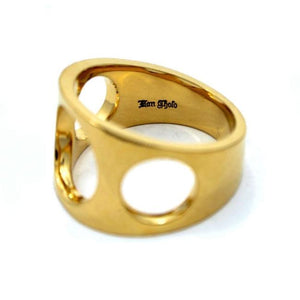 inner detail of the Big 3 Hole Ring in gold from the han cholo precious metal collection