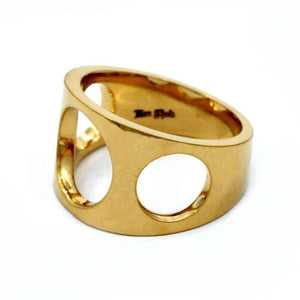 left side of the Big 3 Hole Ring in gold from the han cholo precious metal collection