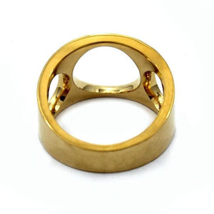 back of the Big 3 Hole Ring in gold from the han cholo precious metal collection