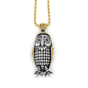 front of the Big Bobo Owl Pendant in 2 silver and gold from the han cholo fantasy collection