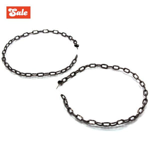 up close of the Big Chain Hoop Earrings in gunmetal from the han cholo shadow series
