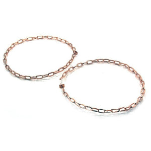 up close of the Big Chain Hoop Earrings in rosegold from the han cholo shadow series