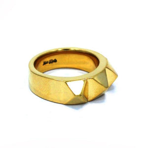 right side of the Big Spike Ring in gold from the han cholo precious metal collection