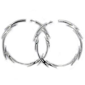 front of the Bolt Hoop Earrings in silver from the han cholo fantasy collection