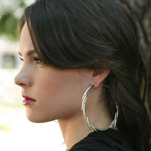 Bolt Hoop Earrings, han cholo earrings, lightening earrings, hoop earrings, silver hoops