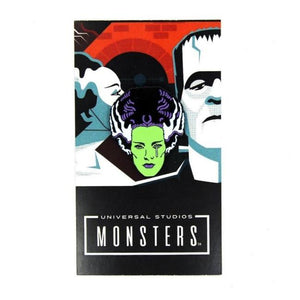 front of the bride tears enamel pin on an officially licensed universal monsters pin card