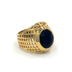 right angle of the Caged Class Ring in gold from the han cholo alien collection