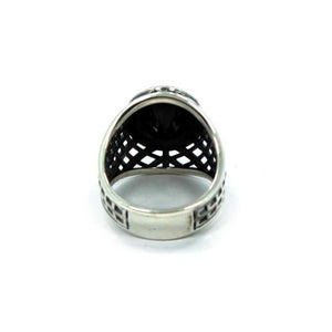 back of the Caged Class Ring in silver from the han cholo alien collection