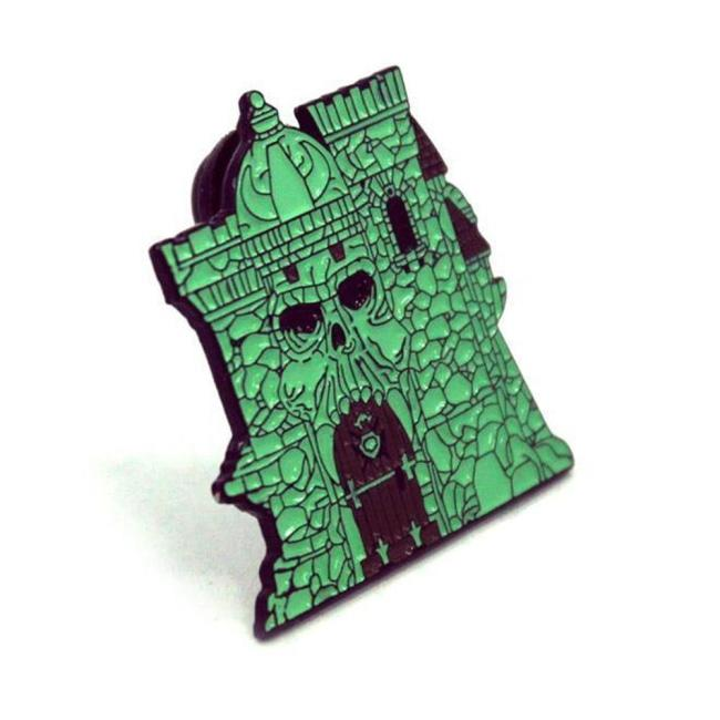 front of the castle grayskull enamel pin from the masters of the universe collection