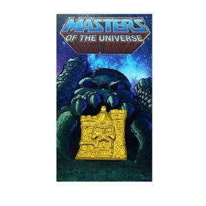 front of the 3D gold castle grayskull pin on a masters of the universe pin card