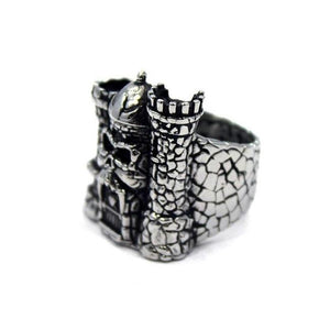 right side of the Castle grayskull ring from the masters of the universe jewelry collection