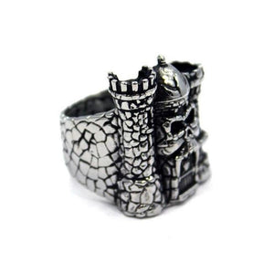 left side of the Castle grayskull ring from the masters of the universe jewelry collection