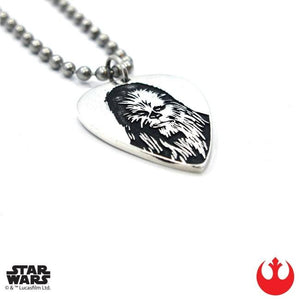 left angle of the Chewbacca Guitar Pick pendant from the han cholo star wars collection