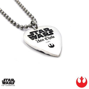 back of the Chewbacca Guitar Pick pendant from the han cholo star wars collection