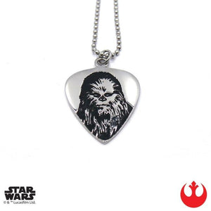 front of the Chewbacca Guitar Pick pendant from the han cholo star wars collection