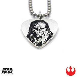 up close shot of the Chewbacca Guitar Pick pendant from the han cholo star wars collection