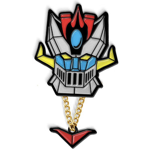 Shogun Warrior inspired Space knight enamel pin on while background