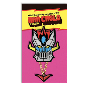 Shogun Warrior inspired Space knight enamel pin on pink pin card